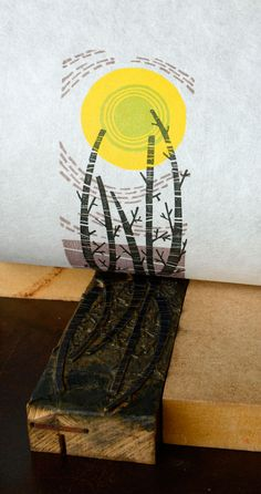 Angie Lewin: 'Five Trees' wood engraving The inspiration for her 'Birch Tree Sun' fabric and wallpaper Stamp Printing, Screen Printing, Angie Lewin, Linoleum Block Printing, Etching Prints, Wood Engraving, Tampons, Doodles, Linocut Prints