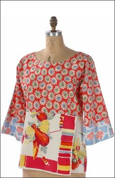 idea - Perfect Pullover – IJ773 sewing pattern from IndygoJunction.com - using vintage tablecloth as fabric on bottom panel