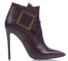 boots en cuir violet a boucles carré doré gianmarco lorenzi
