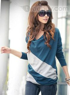 魅惑的な韓国スタイルスプリットジョイントバットスリーブTシャツ