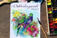 Set of watercolor card with parrots by DariKa on Creative Market