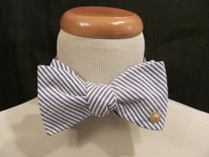 6dc327bd37f3 Items similar to Navy Seersucker Bow Tie with Gold Sand Dollar - Coastal Tie  Collection - Bowtie on Etsy