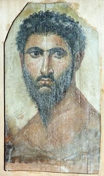 Fayum mummy portrait, late 2nd century) from the collection of the Pushkin State Museum of Fine Arts.