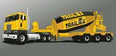 Peterbilt 362 with Trailer-truck Mixer Free Vehicle Paper Model Download