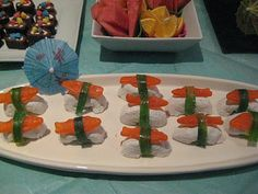 Kids Sushi Party (Swedish fish on powdered donuts)
