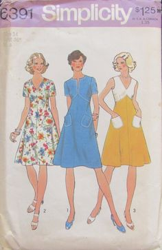 Simplicity 6391 Misses Dress Sewing Pattern Size 14 Uncut by SimpsonDesignsStudio on Etsy Dress Sewing Patterns, Vintage Sewing Patterns, Skirt Patterns, Retro Fashion, Vintage Fashion, Vintage Style, Pattern Pictures, Miss Dress, Sewing Notions
