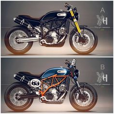 For the needs of a client, Holographic Hammer imagined two visions of vintage KTM 950 SM