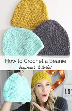 Basic Crochet Beanie Tutorial Learn how to crochet a beanie with this free video tutorial and written pattern from Melanie Ham. This project features a. Crochet Beanie Hat Free Pattern, Easy Crochet Hat, Crochet Video, Crochet Baby, Free Crochet, Mens Crochet Beanie, Tutorial Crochet, Beginner Crochet Projects, Crochet Basics