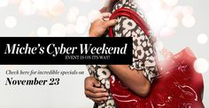 Miche's Cyber Weekend Sale - 75% off select Classic & Prima Big Bag Bundles this weekend only!!! Don't miss your chance to get the Fabulous Interchangeable Miche Purse!!! 12 Classic Bundles and 12 Prima Big Bag Bundles to choose from....Get the base and 4 shells!!! All under $50 for the bundle!!! Select hard to find shells will be available for $7 & $10! Visit my website: http://bamamissyslatton.miche.com/ click Shop to order yours today!