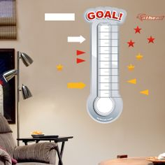 Shop General Graphics Dry Erase Surface at Fathead Goal Thermometer, Fundraiser Thermometer, Wildly Important Goals, Whiteboard Sticker, Goal Tracking, Goal Charts, Wall Safe, Work Goals, Goal Board