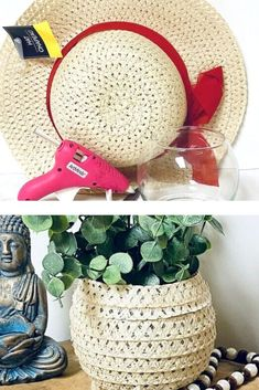 Learn how to make a boho planter with an upcycled wicker hat you can get at the dollar tree. Cheap and easy quick boho planter diy tutorial. #boho #budgetdecor #bohoplanter