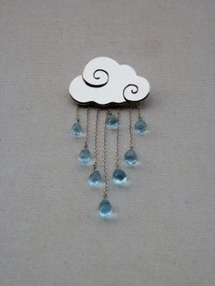 Items similar to Cloud brooch in sterling silver with rain of blue topaz drops on Etsy Metal Clay Jewelry, Jewelry Art, Beaded Jewelry, Jewelery, Silver Jewelry, Jewelry Design, Handmade Silver, Handmade Jewelry, Unique Jewelry