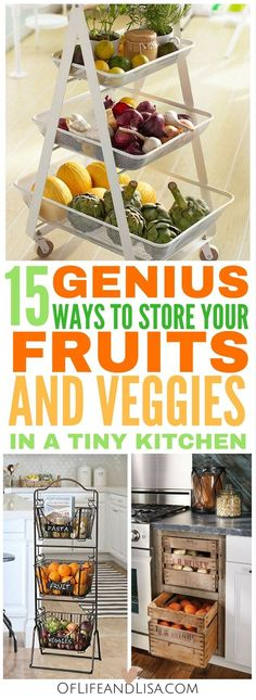 15 Genius DIY Fruit and Vegetable Storage Ideas for Tiny Kitchens Ikea Small Kitchen, Small Kitchen Storage, Kitchen Organization, Produce Storage, Fruit Storage, Basket Storage, Food Storage, Kitchen Vegetable Storage, Potato Storage
