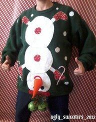 christmas sweater upside-down snowman