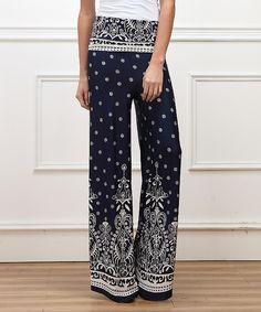 Look at this Reborn Collection Navy & White Suzani High-Waist Palazzo Pants on #zulily today!