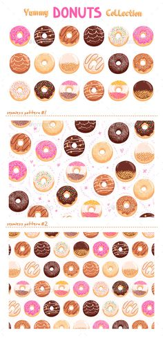 Donuts Collection (Vector EPS, AI Illustrator, CS, background, bakery, breakfast, cafe, cafeteria, caramel, chocolate, collection, dessert, donuts, fast food, food, illustration, junk food, menu, nougat, pastry, pattern, print, seamless, set, shop, sprinkles, sweet, tasty, texture, Toppings, vanilla, vector, yummy)
