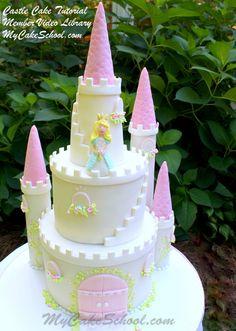 Castle Cake from our Member Video Tutorial Library! MyCakeSchool.com Online Cake Decorating Videos, Tutorials, & Recipes!