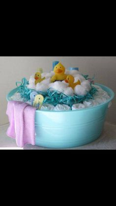 Great diaper/gift arrangement for a baby shower