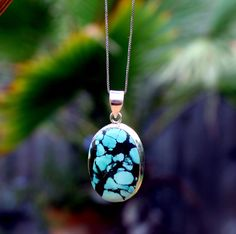 SALE  Tibetan Turquoise Silver Pendant Sterling by KevaDesigns