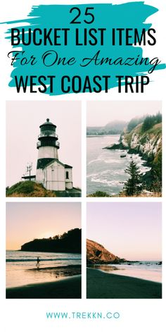 25 West Coast Trip Bucket List Ideas for One Amazing Adventure - TREKKN From caves filled with sea lions to extraordinary lighthouses and scenic drives, these ideas will help you have one amazing West Coast trip. Pacific Coast Highway, West Coast Road Trip, Usa Roadtrip, Travel Usa, Beach Travel, Canada Travel, Oregon Road Trip, Road Trip Usa, Oregon Coast Roadtrip