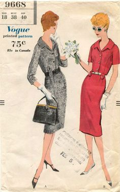 1960's Vintage VOGUE Dress  Pattern 9668 Size 18