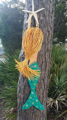 Teal Handmade Wooden Mermaid by JeanneTierneyDesigns on Etsy #craftshout2010 #beachdecor #etsy