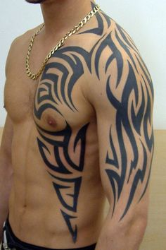 "This tribal tattoo re mainly popular on the arm side near the shoulders. Checkout our collection of ""30 Awesome Tribal tattoo Design Ideas for Men"""