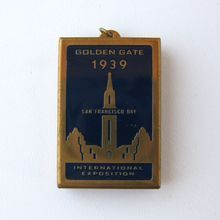 Locket with Paper Map, Golden Gate International Exposition, Treasure Island, San Francisco World's Fair 1939-40.
