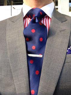Grey custom suit, TM Lewin shirt and tie
