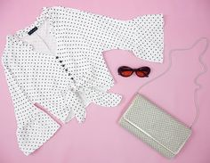 ❊ CUTE GIRL ❊ Candy Pop Polka Dot Top // Vintage Glomesh Envelope Clutch // Double Take Sunglasses ❊ haliteclothing.com #HALITE