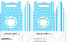 Light Blue Crown in Stripes and Polka Dots  Free Printable Boxes for a Quinceanera Party. Printable Box, Free Printables, Sandbox Cover, Kids Sandbox, Dots Free, Box Invitations, Quinceanera Party, Pillow Box, Prince Party