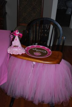 Baby girl's 1st birthday- like the highchair tutu and the cute hat... I could make the hat!