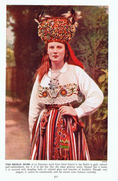 Vintage Color Book Plate of Estonian Bride in Traditional Costume, Oesel Island by Parikas