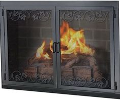 Black Fireplace Screen Glass Doors Home Design Ideas With Regard To Fireplace  Screens With Doors