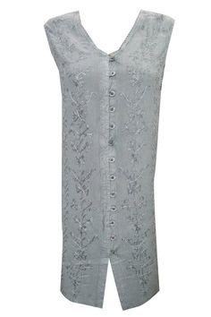 Bohemian Dresses Grey Sleeveless Stonewashed Rayon Ari Embroidered Shift Dress