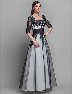 Formal Evening/Military Ball Dress - Ivory Plus Sizes A-line/Princess Scoop Floor-length Satin – USD $ 113.99