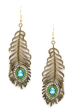 Peacock feather earrings //