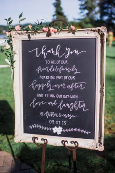 framed chalkboard wedding sign