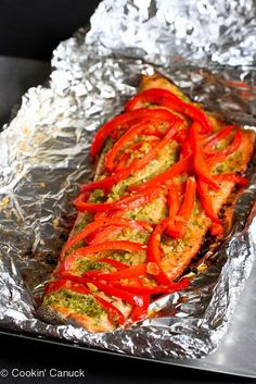 Easy Grilled Pesto Salmon in Foil Recipe...the leftovers are killer on grilled pizza! | cookincanuck.com #healthy