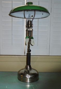 Vintage Coleman Quick Lite Gas Lantern Camping Table Lamp