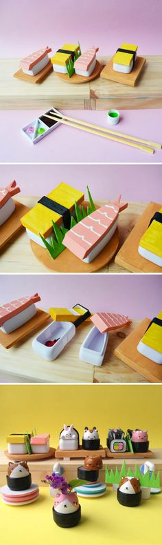Japanese Bento Set - Handpainted sushi figurine miniature - small container -trinket box - 3d printed - tamago - shrimp