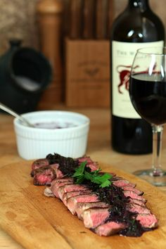 Steak with Red Wine-Herb Sauce | Creative-Culinary.com - made using The #Wolftrap Red