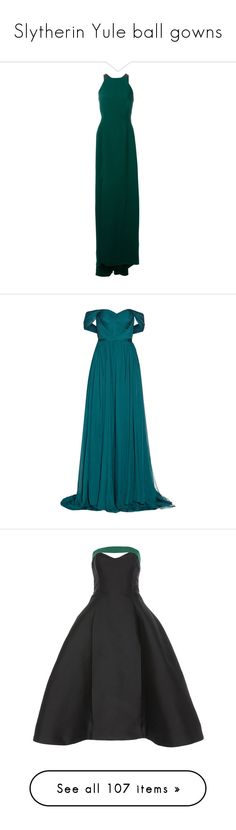 """Slytherin Yule ball gowns"" by weeby ❤ liked on Polyvore featuring dresses, gowns, lanvin, evening gowns, robe, green, long green evening dress, green dress, green gown and long gowns"