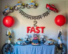 How to Blend Two Birthday Party Themes: A Race Car and Police Party — Sugar Moon Bloom 2nd Birthday Party For Boys, Second Birthday Ideas, Race Car Birthday, Cars Birthday Parties, Birthday Party Decorations, Car Themed Birthday Party, Baby Boy Birthday Themes, Race Car Party, Party Themes For Boys
