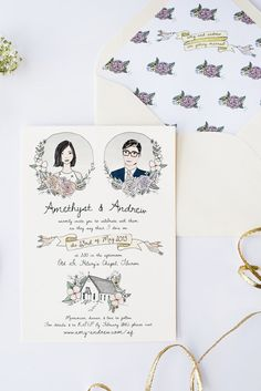 Illustrated Wedding Invitation | Custom & Hand Drawn Invitation Suite for Weddings, Birthdays, Showers