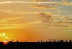 Kite flyers at #sunset at Jockey's Ridge State Park in North Carolina's Outer Banks.