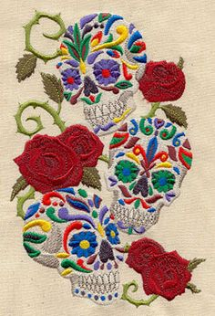 Calavera Sweet Skulls Mexican Culture Dia De Los Muertos Embroidered Flour Sack Hand Towel These waffle weave towels measure approximately: 27 inches inches, the design is embroidered along the bottom edge, centered. There is a handy loop for hanging too! Embroidery Stitches, Embroidery Patterns, Hand Embroidery, Machine Embroidery, Urban Threads, Mexican Skulls, Mexican Folk Art, Mexican Crafts, Catrina Tattoo