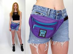 Vintage 80s 90s Fanny Pack Nylon Purple Teal Waist Bag Festival Bum Money Bag Belly Purse Hip Pouch Hipster Tourist  by BlueFridayVintage