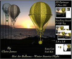Hot Air Balloons   Winter Sunrise Flight   Pyrimage Pyramid   Insert   Tag on Craftsuprint - View Now!