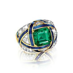 Verdura Important Colombian Emerald, Diamond and Enamel Ring One carat natural Colombian emerald with round diamonds and calibrated sapphires in gold Emerald Jewelry, Gems Jewelry, High Jewelry, Emerald Rings, Jewellery, Columbian Emeralds, My Birthstone, Jewelry Boards, Jewelry Design